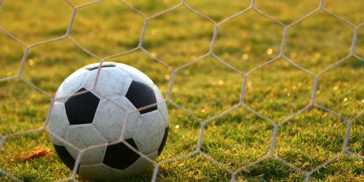 En boll som ligger vid ett mål på en gräsplan.