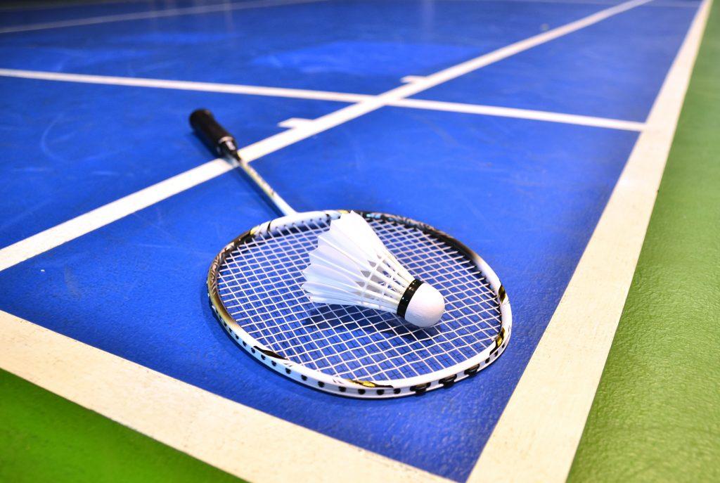 Badmintonrack och boll.
