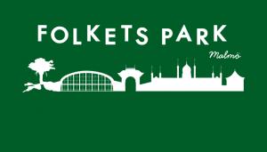 Stadssiluett av Malmö med texten Folkets Park över