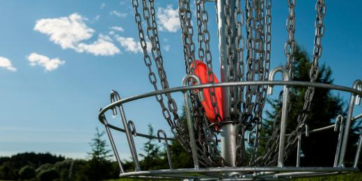 Frisbee i en frisbeegolf-korg