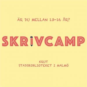 Gul bild med texten Skrivcamp