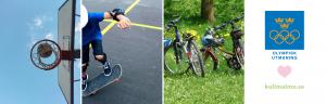 Olympisk utmaning - bild på en basketgorg, en ung person som åker skateboard och ett par parkerade cyklar på en gräsmatta