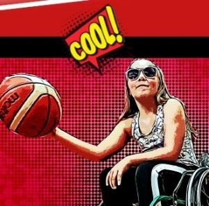 Illustrerad bild på person med solglasögon som spelar rullstolsbasket