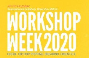 Gul bakgrund med text på bild. Texten säger: Workshop Week 2020